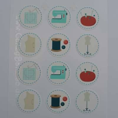 Edible Cupcake Toppers x 12 - Sewing Theme