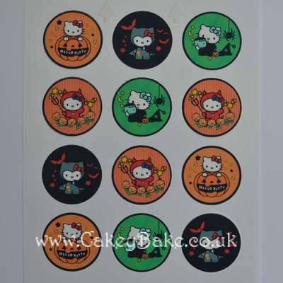 Edible Cupcake Toppers x 12 - Hello Kitty Halloween Theme
