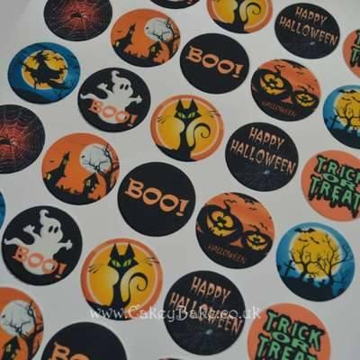 Edible Mini Cupcake Toppers x 30 - Halloween Trick or Treat Designs