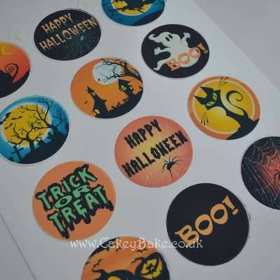 Edible Cupcake Toppers x 12 - Halloween Theme