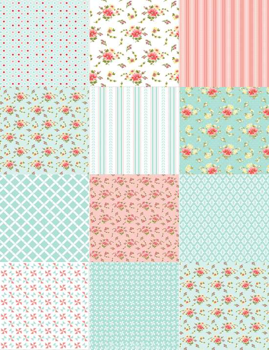 Edible Icing Sheet - Patchwork Pink / Blue Design
