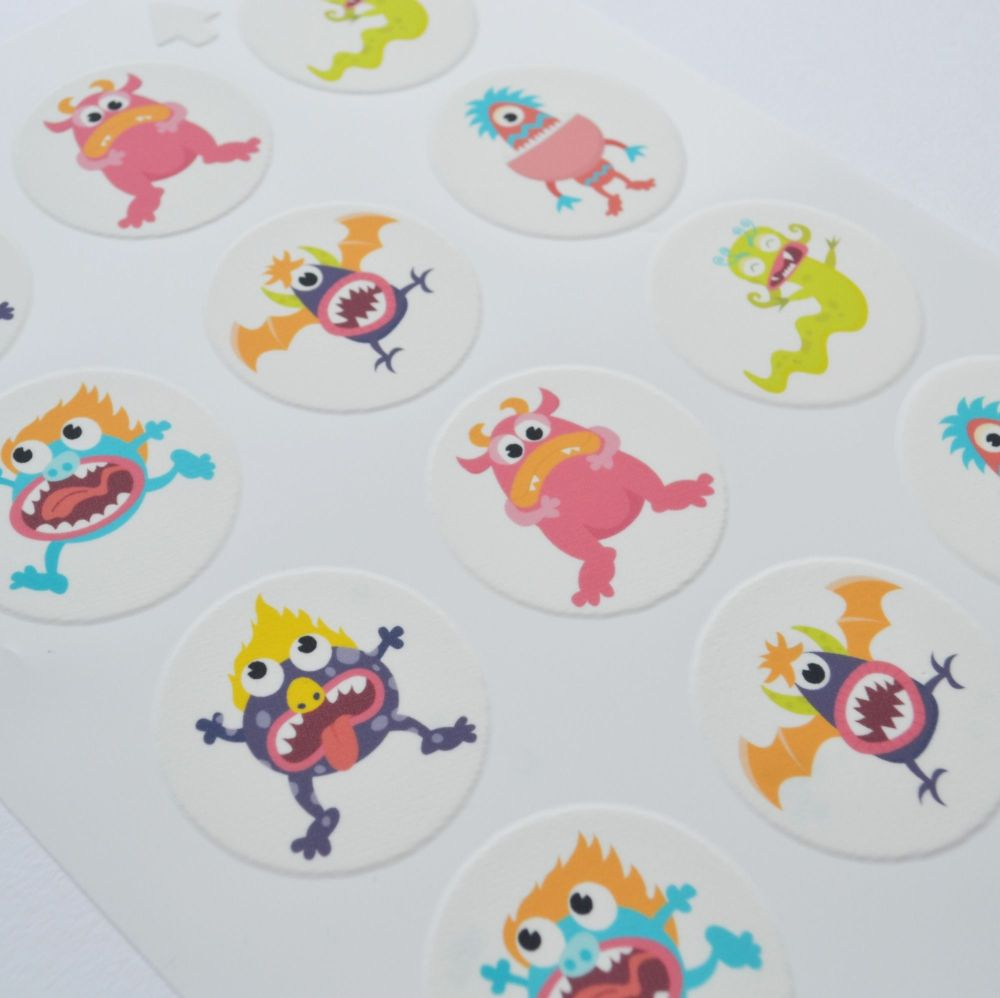 Edible Cupcake Toppers x 12 - Cute Monsters