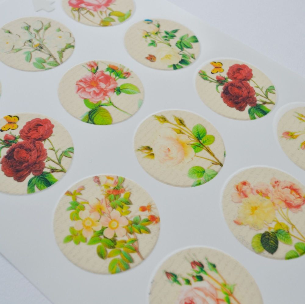 Edible Cupcake Toppers x 12 - Floral Script Designs