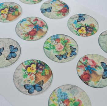 Edible Cupcake Toppers x 12 - Flowers and Butterflies