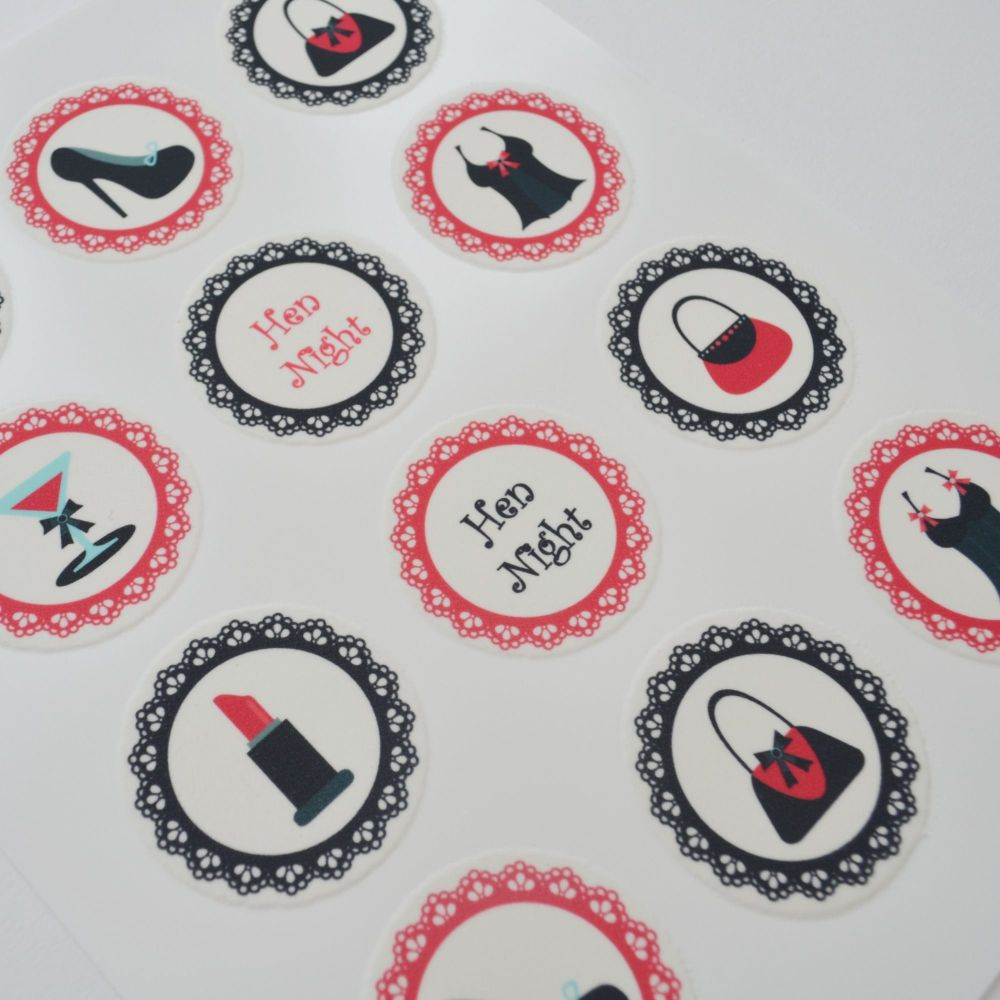Edible Cupcake Toppers x 12 - Hen Night Design