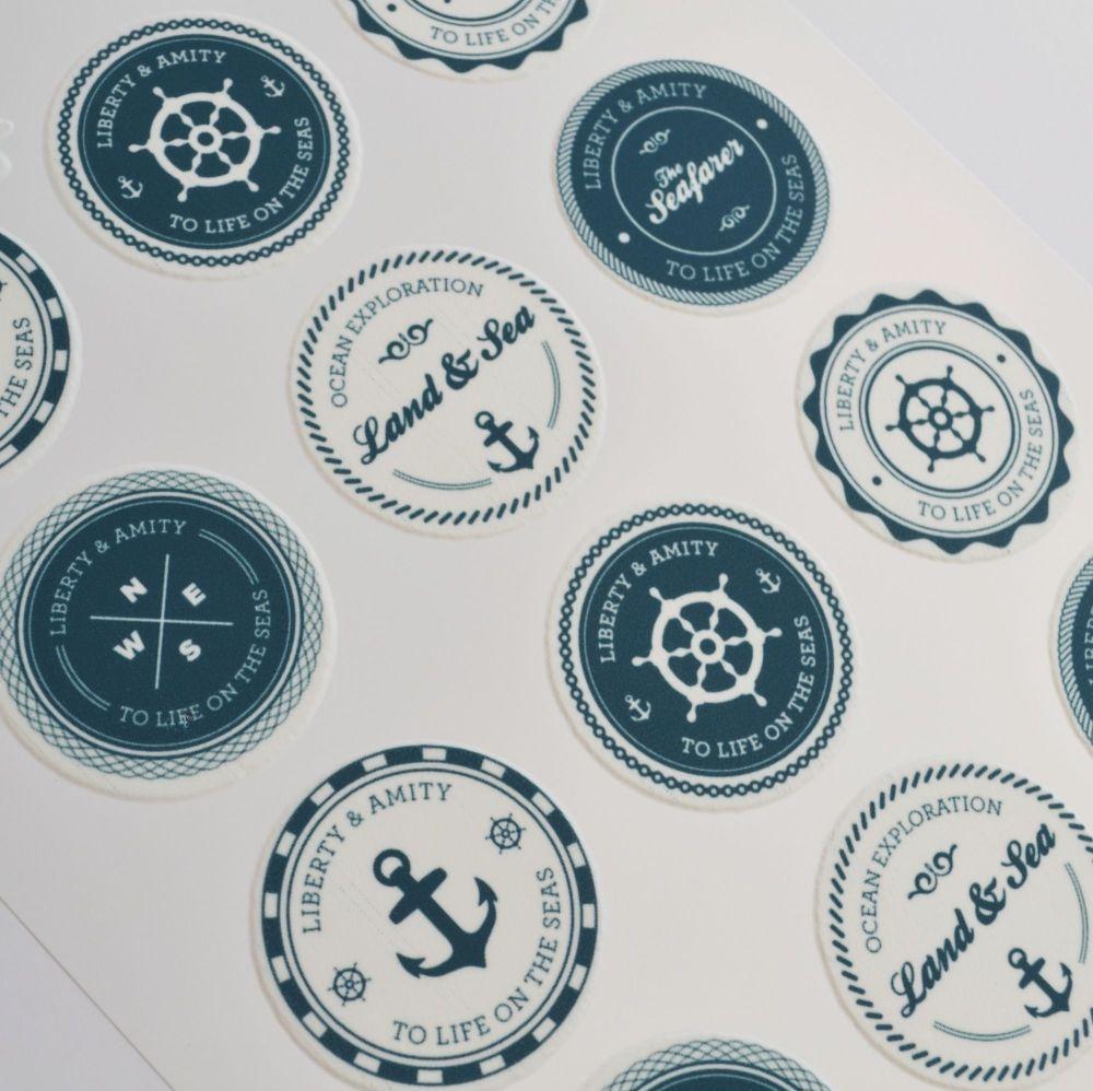 Edible Cupcake Toppers x 12 - Nautical Emblems Theme