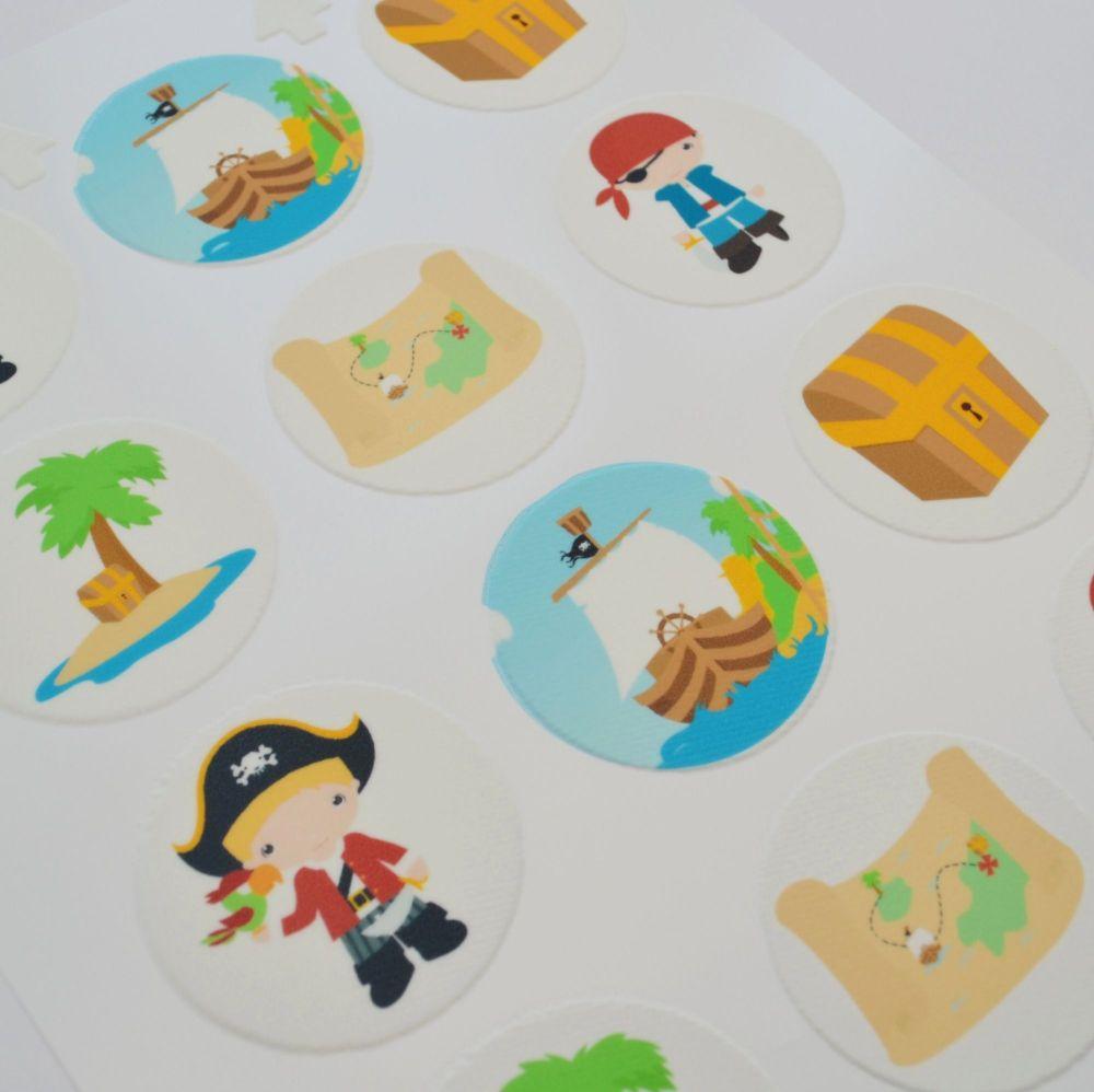 Edible Cupcake Toppers x 12 - Pirate Theme
