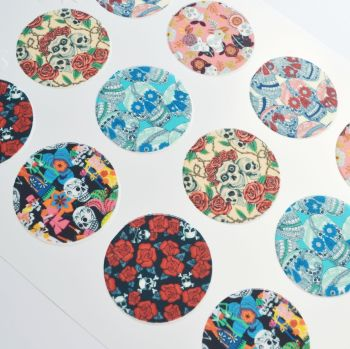 Edible Cupcake Toppers x 12 - Skull 'Day of the Dead' Designs