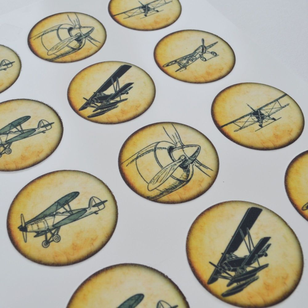 Edible Cupcake Toppers x 12 - Vintage Planes Design