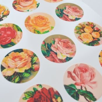 Edible Cupcake Toppers x 12 - Vintage Roses Design