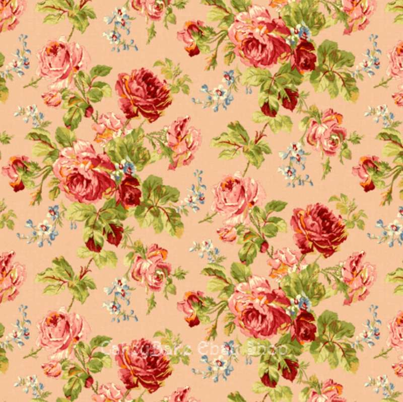 Edible Icing Sheet or Wafer Paper - Vintage Rose Salmon Pink Design