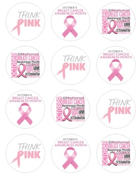 Edible Cupcake Toppers x 12 - Charity Think Pink Breast Cancer Awareness Month Theme