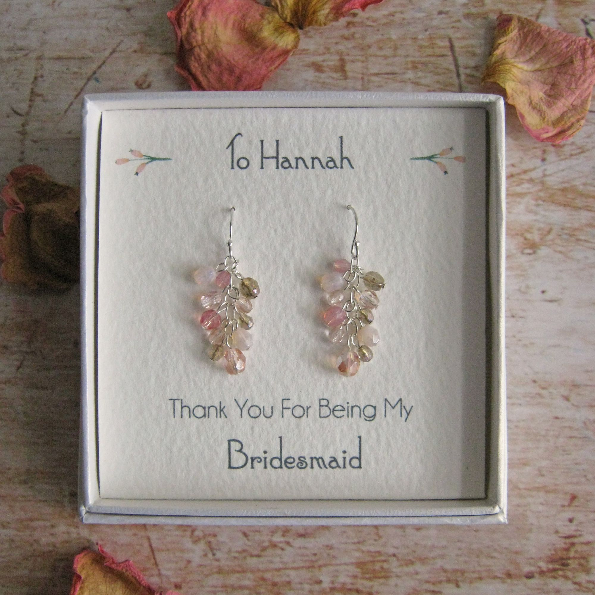 Personalised bridesmaid and wedding gifts and jewellery