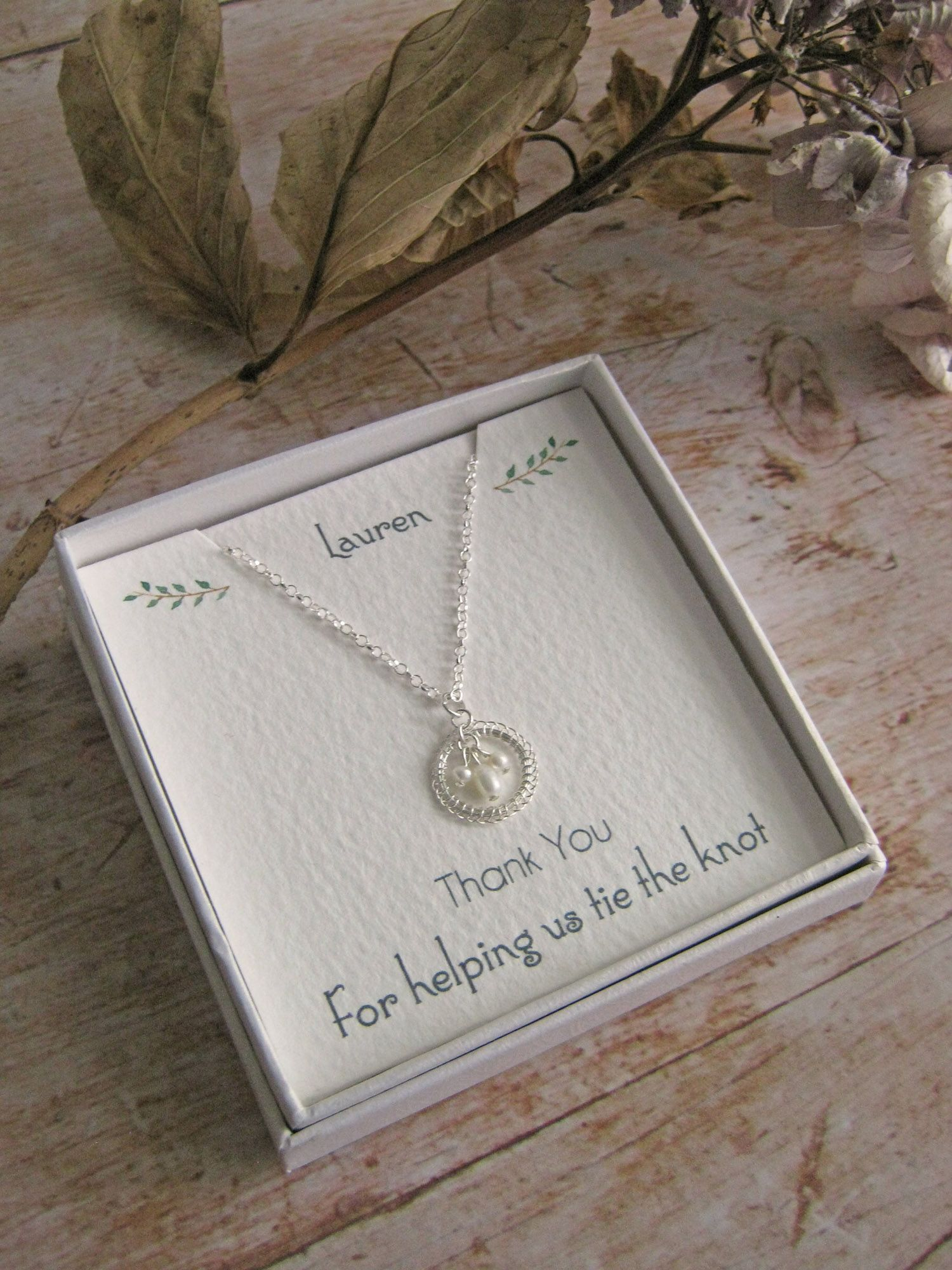 Wedding thank you jewellery with personalised message