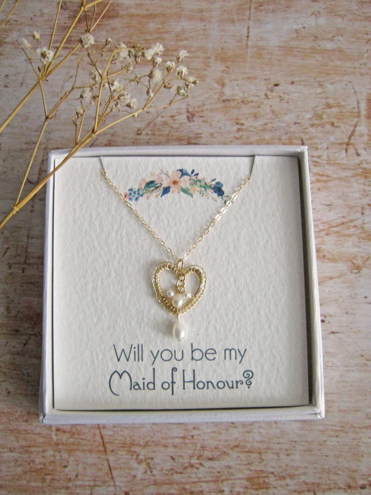 Personalised jewellery gift boxes, maid of honour gift