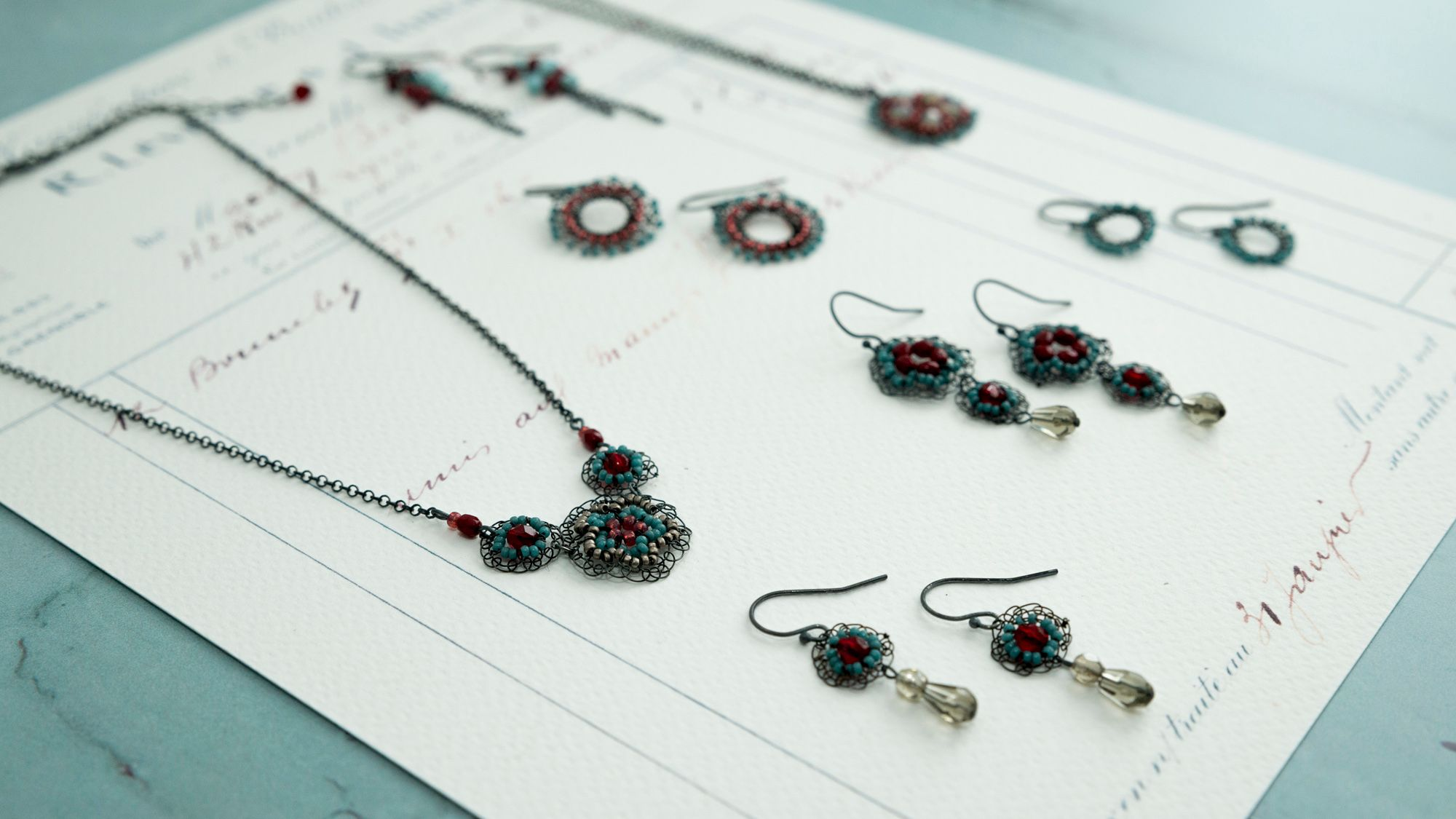 Elegant oxidised silver and bead jewellery by Judith Brown