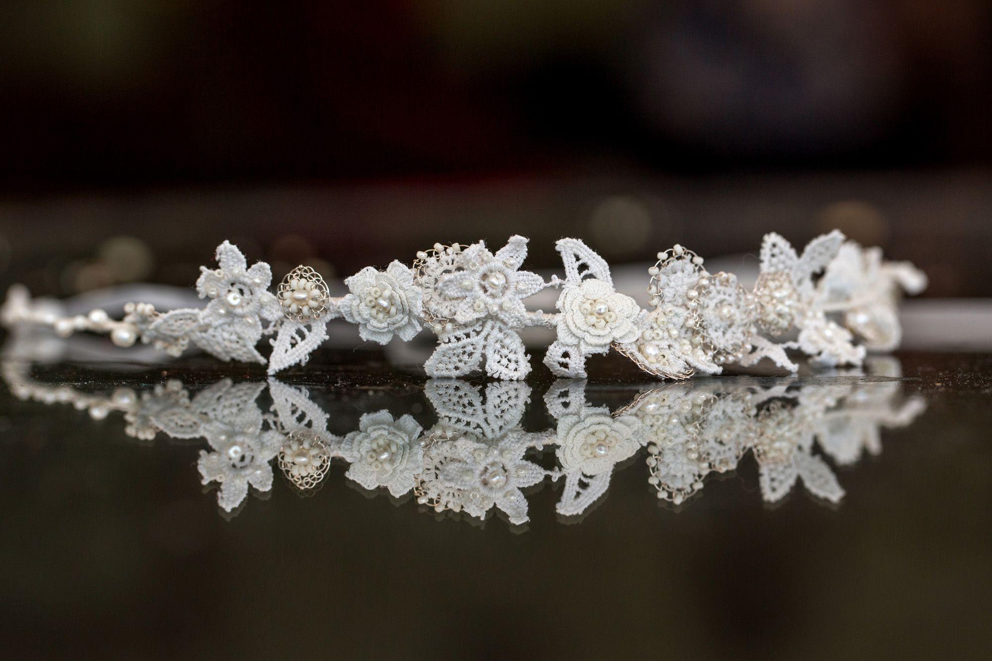 Bespoke vintage lace bridal headband