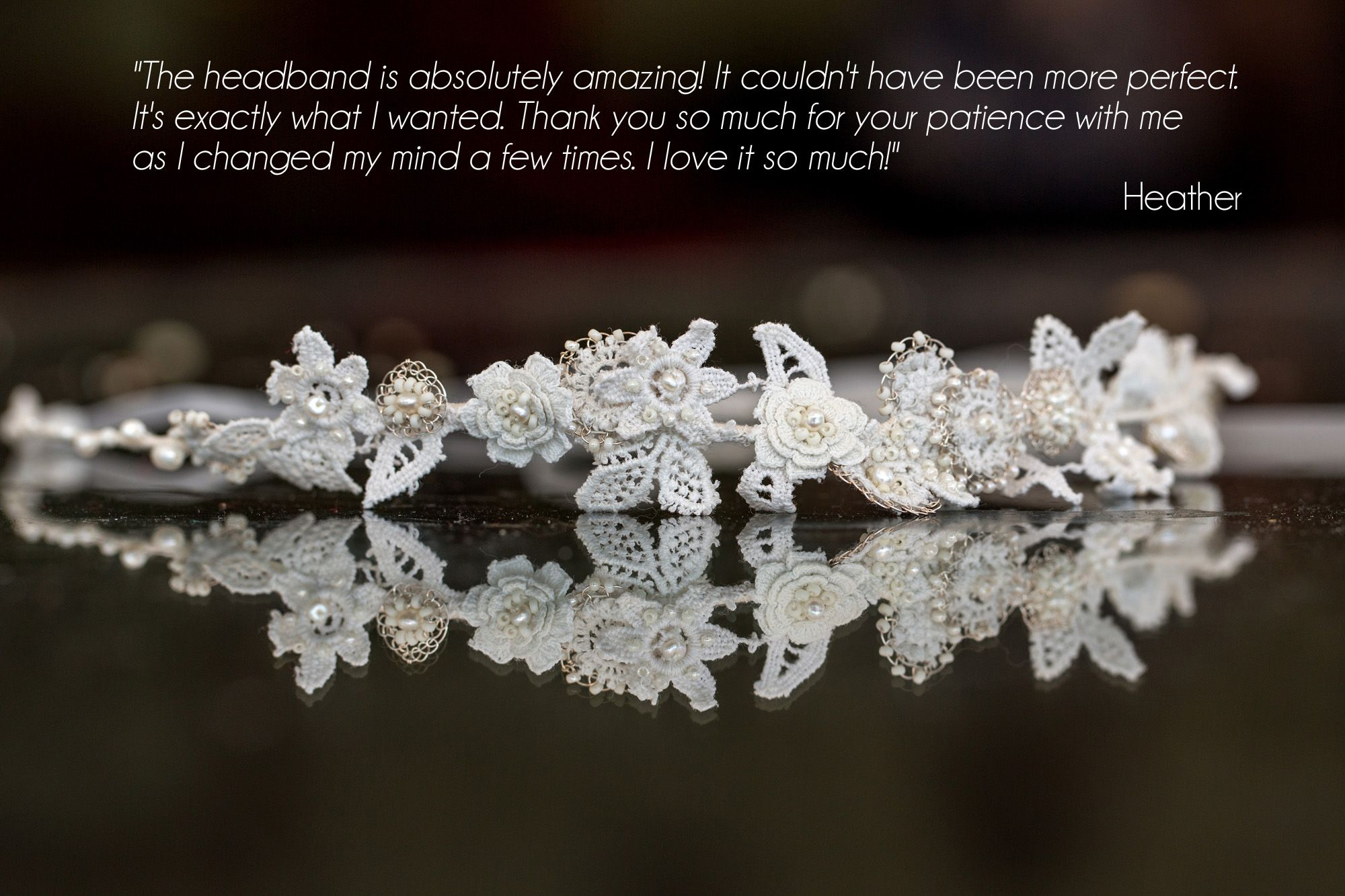 Bespoke vintage lace and bridal pearl hairband