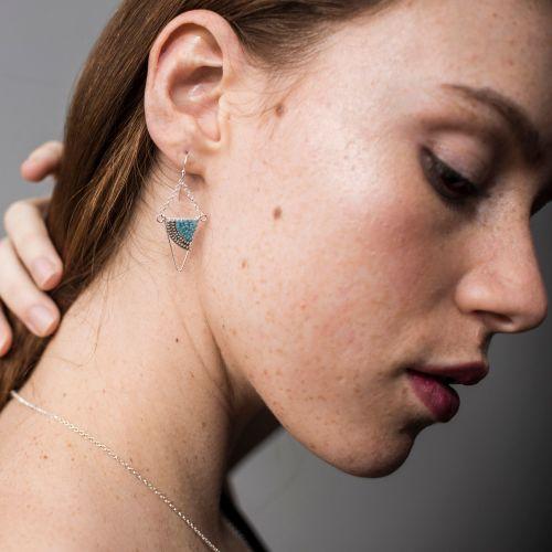 Geometric Silver Triangle Earrings