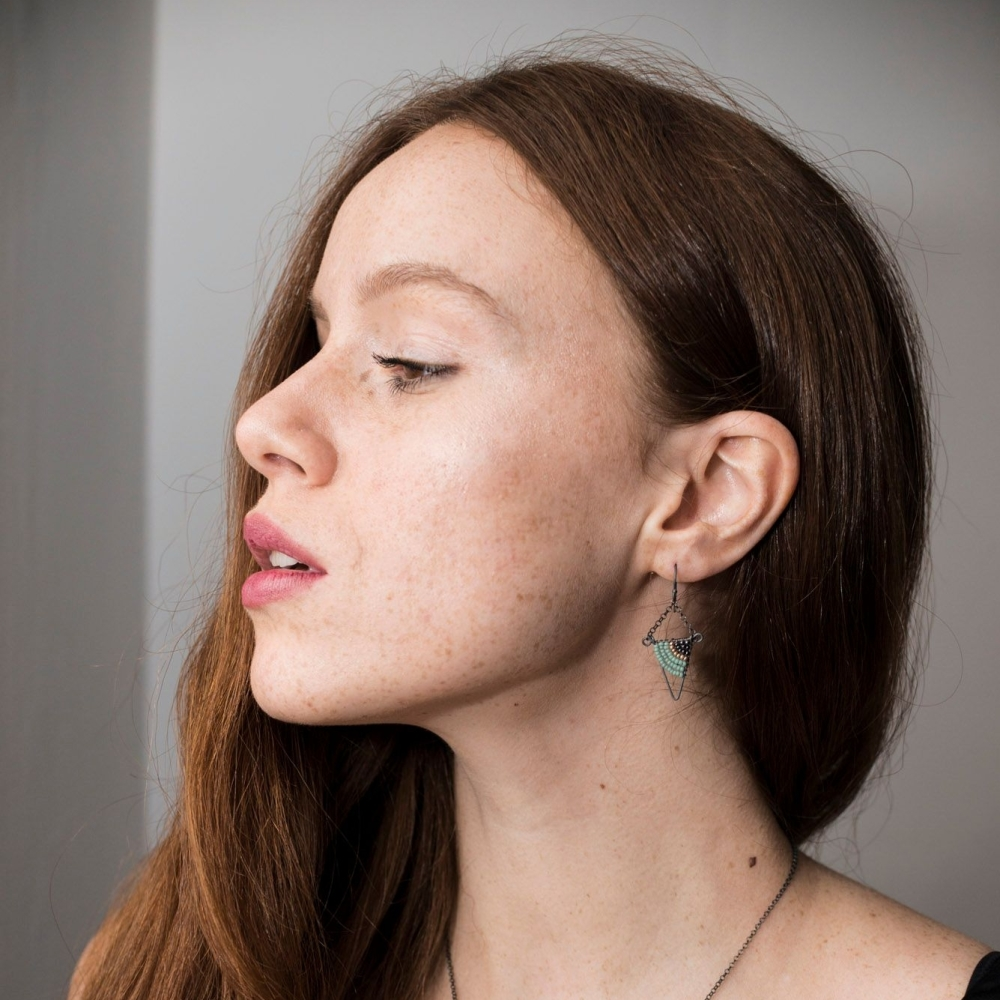 Geometric Oxidised Silver Triangle Earrings