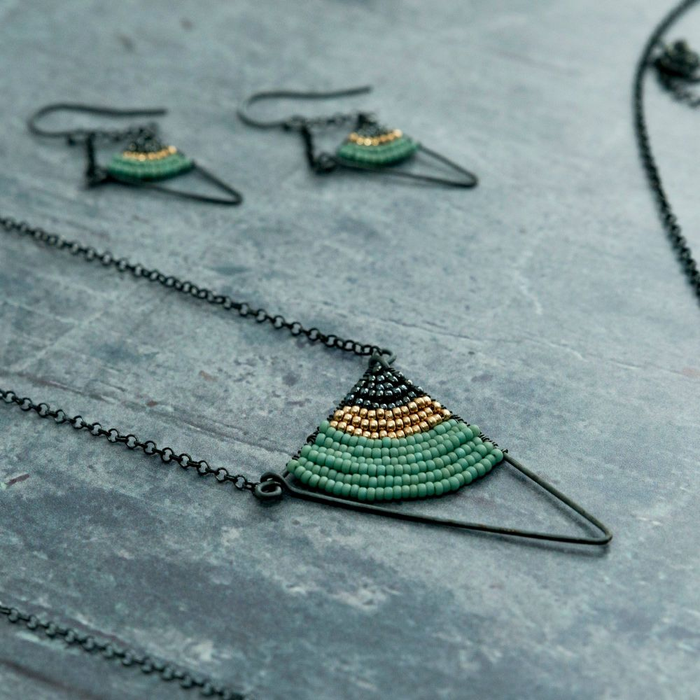 <!-- 004 -->Silver Triangle Necklace - More Colours