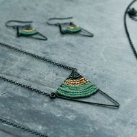 <!-- 004 -->Oxidised Silver Triangle Necklace - More Colours