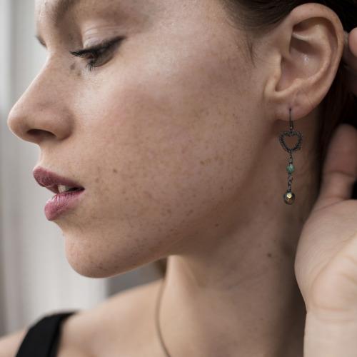 Petite Heart Long Earrings in Oxidised Silver