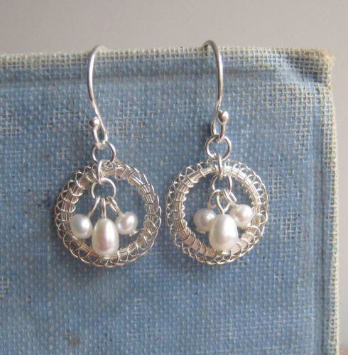 Petite Circlet Earrings in Silver with Pearls