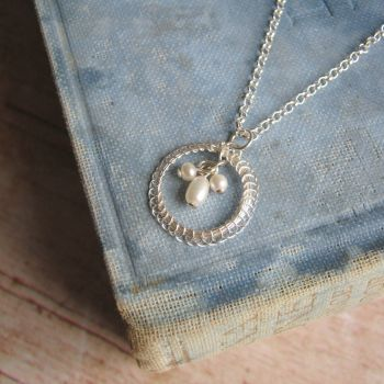 Petite Circlet Pendant in Silver with Pearls