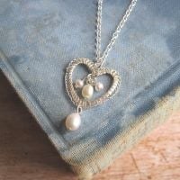 Petite Heart Pendant in Silver with Pearls