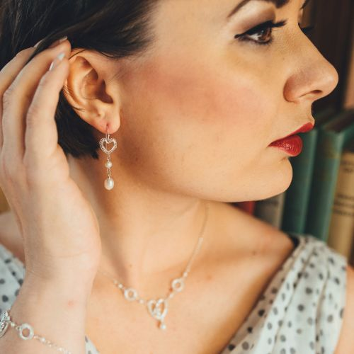 Petite Heart Long Earrings in Silver with Pearls