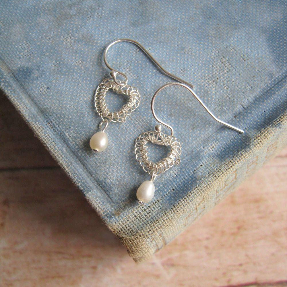 Petite Heart Earrings in Silver with Pearls