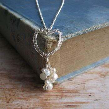 Heart Cluster Pendant in Silver with Pearls