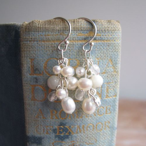 Cluster Earrings in Silver with Pearls