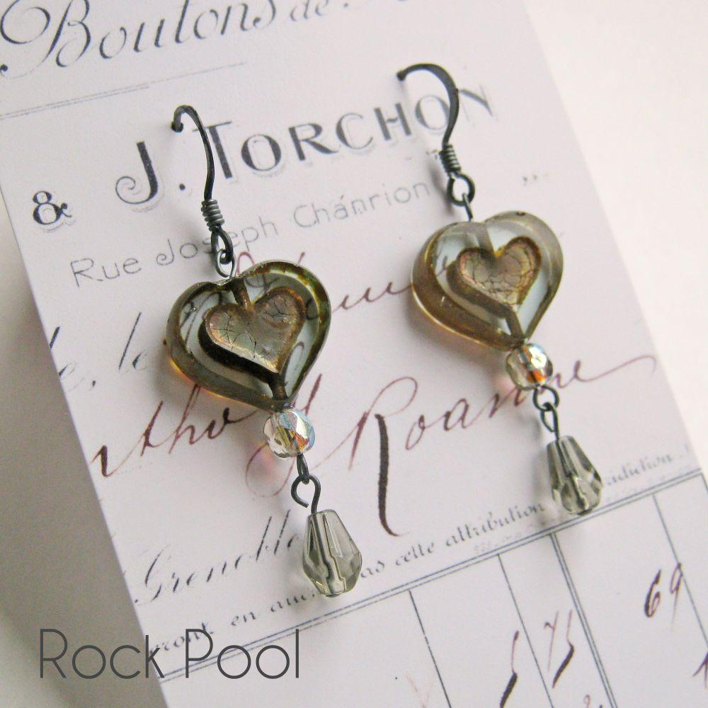 <!-- 001 -->Bohemia Glass Heart Earrings - More Colours