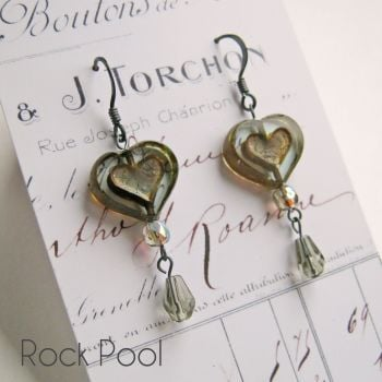 Bohemia Glass Heart Earrings - More Colours