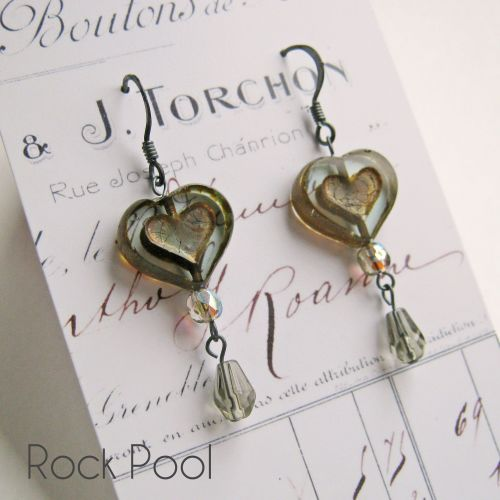 <!-- 001 -->Bohemia Glass Heart Earrings - More Colours