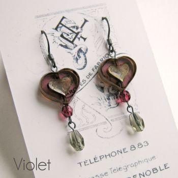 Bohemia Glass Heart Earrings - More Colours