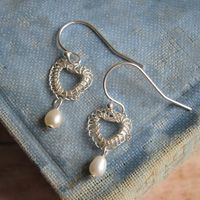 Petite Hearts in Silver with Pearls