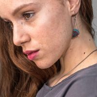 <!-- 002 -->Oxidised Silver Asymmetrical Triangle Earrings - More Colours