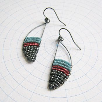 Oxidised Silver Curve Earrings - More Colours