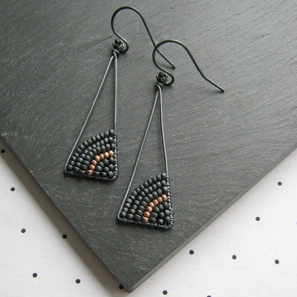 Oxidised Silver Isosceles Earrings - More Colours