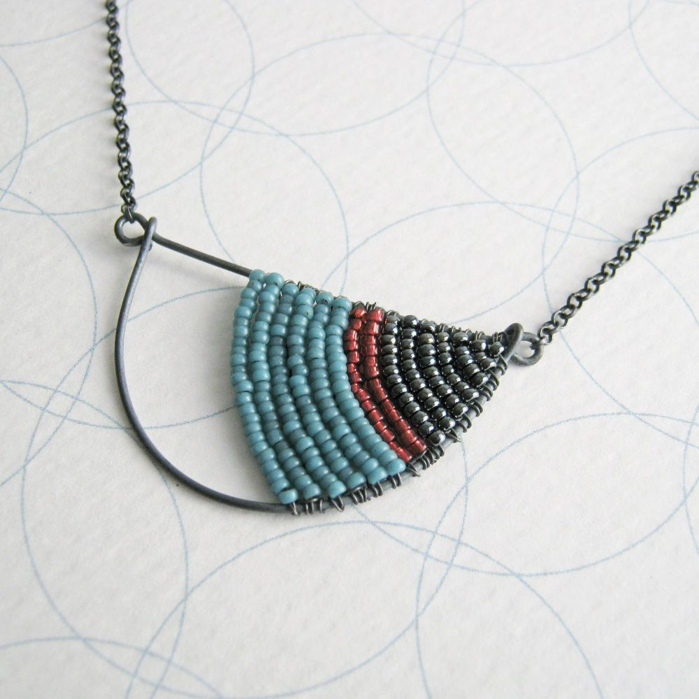 <!-- 006 -->Oxidised Silver Semi Circle Necklace - More Colours