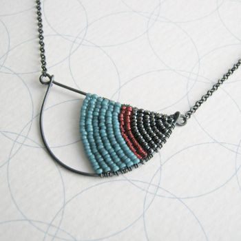 Oxidised Silver Semi Circle Necklace - More Colours