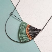 <!-- 001 -->Large Silver Semi Circle Necklace - More Colours