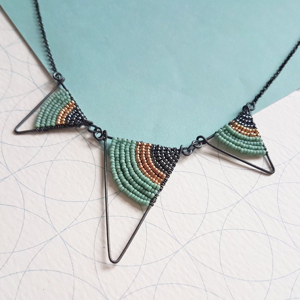 <!-- 001 -->Three Triangle Statement Necklace in Silver