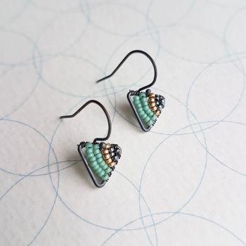 Mini Oxidised Silver Triangle Earrings - More Colours