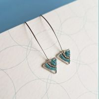<!-- 002 -->Mini Drop Silver Triangle Earrings - More Colours