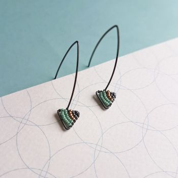 Mini Drop Oxidised Silver Triangle Earrings - More Colours