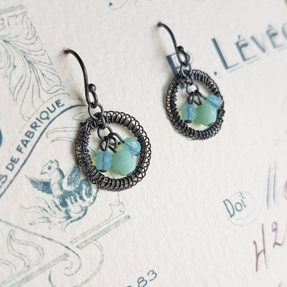 Petite Circlet Earrings in Oxidised Silver with bead drops